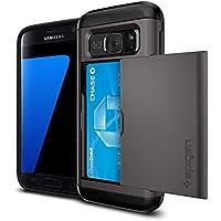 Custodia Galaxy S7, Spigen [Slim Armor CS] Galaxy S7 Card Holder [Gunmetal] Slim Fit Dual Layer Protective con Card Slot Holder Wallet Per Samsung Galaxy S7 (2016) - (555CS20016) - Gunmetal Scheda