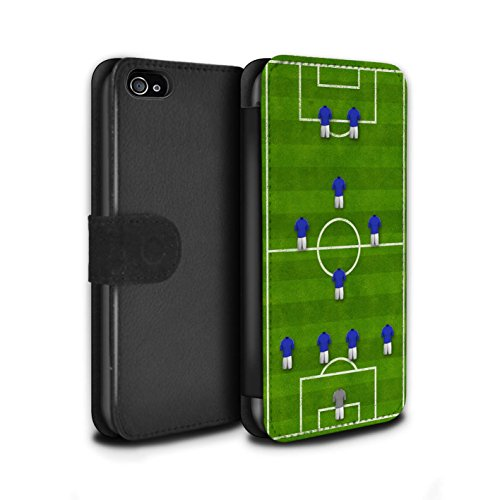 Stuff4 Coque/Etui/Housse Cuir PU Case/Cover pour Apple iPhone 4/4S / Pack 9pcs Design / Formation Football Collection 4-1-2-1-2/Bleu