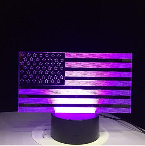 Led Nachtlicht 3D Kreative 7 Bunte Farbverläufe Atmosphäre Visuelle 3D Usa Flagge Led Nachtlicht Usb Tischlampe Nachttisch Wohnkultur