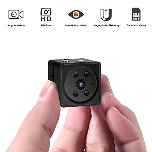e Überwachungskamera Full HD 1080P Mini Cam mit Nachtsicht für Indoor/Baby/Nanny/Haustier Cam (Mini A7-Schwarz) ()