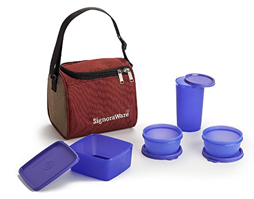 Signoraware Best Lunch Box with Bag, Deep Violet