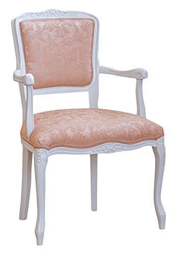 Pieffe mobili parigina poltroncina shabby, legno faggio bianco, stoffa ramata pesca!