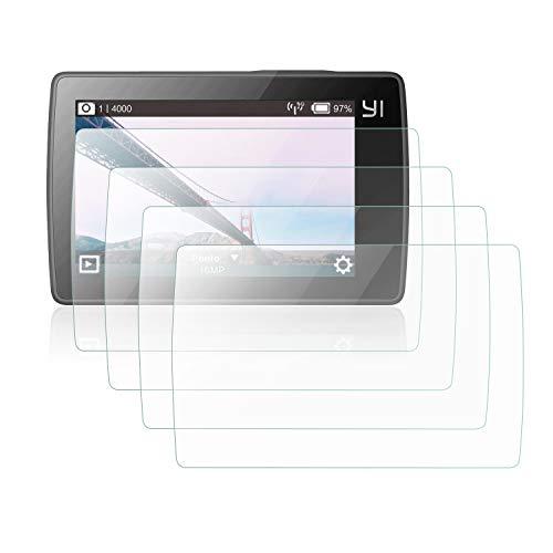 Mwoot 4 Pezzi Pellicole Protettive per Xiaomi Yi 4K, Xiaomi Yi 4K+ (4K Plus) e Xiaomi Yi Lite Action Camera, Anti Graffi Vetro Temperato per Protezione dello Schermo