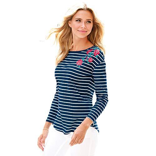 Camiseta Manga Larga Mujer by Vencastyle - 022763,Azul Marino Estampado Rayas,XXL