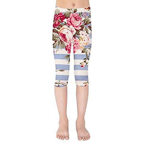 Antique Striped Floral Kids Capri Leggings -