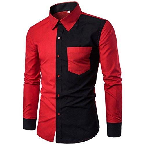 Hombres camisa de moda de color sólido casual camisa de manga larga masculina By LMMVP (Rojo, XXL)