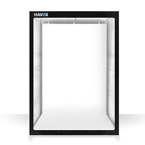 HAVOX - Fotostudio HPB-160 - Maße 120x80x160cm - 6X LED-Beleuchtung Tageslicht 5500k - 30,000 Lumen - CRI 93 - Machen Sie Ihre...