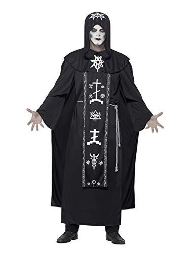 Fancy Dress Magician Kostüm - Smiffys 45571 - Unisex Dunkle Kunst Ritual Kostüm, Vermummtes Gewand und Gürtel, One Size, schwarz