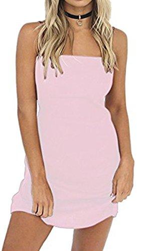 BLACKMYTH Donna Spaghetti Strap Abito Senza Schienale Bowknot Bodycon Mini Vestito Rosa