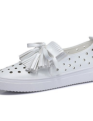 ShangYi gyht Scarpe Donna-Sneakers alla moda-Ufficio e lavoro / Sportivo / Casual-Punta arrotondata-Piatto-Finta pelle-Bianco / Argento White