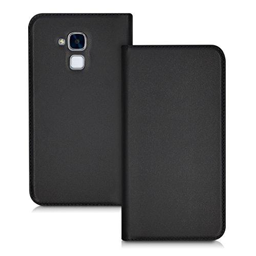 kwmobile Hülle Flip Case für Huawei Honor 5C - Aufklappbare Schutzhülle aus Kunstleder Tasche im Flip Cover Style in Schwarz
