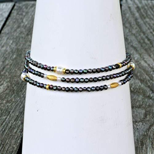 LaCatella Perlenkette echte Perlen tahiti-schwarz lang 57 cm Armband Geschenk für Sie handgefertigt