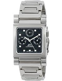 gino franco Men's 971BK Square Stainless Steel Multi-Function Bracelet Watch