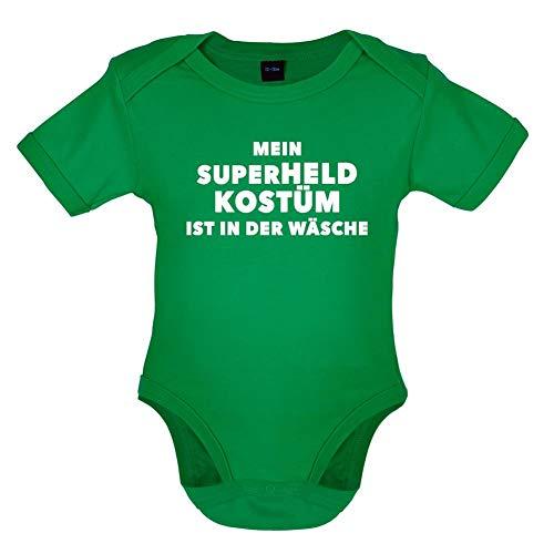 12 18 Monat Superhelden Kostüm - Dressdown Mein Superheld Kostüm Ist in Der Wäsche - Lustiger Baby-Body - Leuchtend Grün - 12-18 Monate
