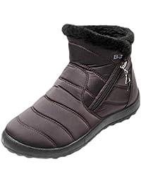 Hiver Chaussures pour Femme - Mode Classiques Chaud Doublure à Fermeture  Éclair Femmes Cheville Baskets Casual Bottes Chaussures… b37c6a94325f