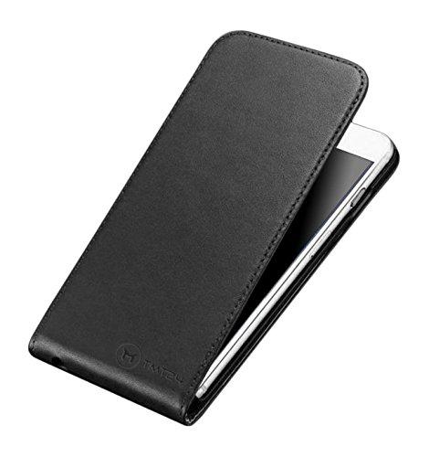 TMTmove® PREMIUM Leder Flip-Case Handytasche Schutzhülle für Iphone 4 / 4s Slim Design - handgefertigte Lederhülle Down-Flip Cover Etui Ledertasche mit Magnetverschluss( creme weiß ) Schwarz