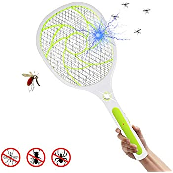 EXTSUD Bug Zapper Racket Mosquito Killer, Wasp Bug Mosquito Swatter Zapper,  USB Rechargeable LED Lighting Double Layers Mesh Safe Protection for