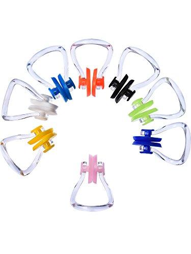 8 Stück Schwimmen Nase Clip Silikon Schwimmen Training Protector Plug, 8 Farben