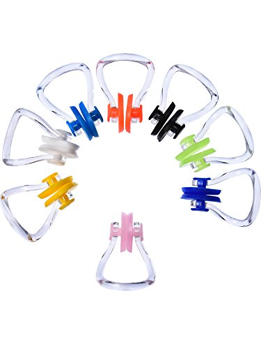 Hicarer 8 Stück Schwimmen Nase Clip Silikon Schwimmtraining Protector Plug (8 Farben)