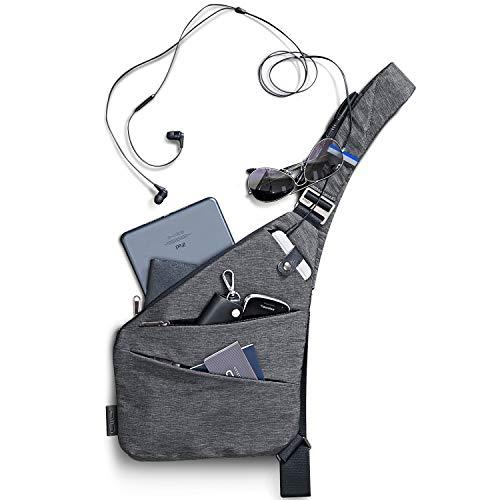 NIID-FINO Sling Rucksack Crossbody Umhängetaschen Brusttasche Herren Schultertaschen für Herren Multipurpose Daypack Anti-Diebstahl & Wasserresistent (Grau, Rechte Hand)