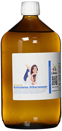 Kolloidales Silber 50PPM 1000ml Apotheker Glasflasche - aus Reinstwasser und Purem Silber 99,99% ohne chemische Zusatzstoffe - Hohe Konzentration von 50PPM