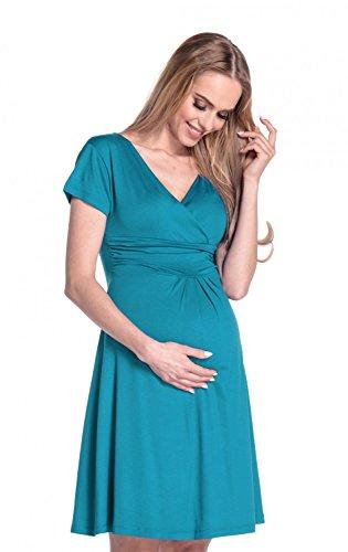 Happy Mama Femme. Robe de maternité drapée. Robe de cocktail de grossesse. 108p Aqua