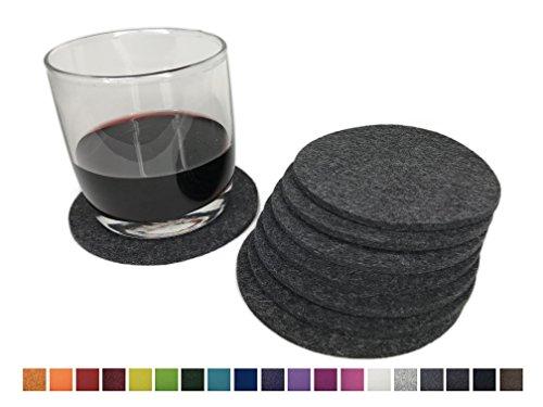 8 runde Glasuntersetzer aus 100% reinem Wollfilz – Farbe wählbar, Filzuntersetzer für Tisch und Bar von 8-Natur / Getränkeuntersetzer aus reinen Naturstoffen (Mittelgrau)
