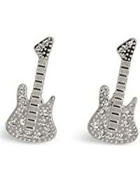Silver 25th Anniversary Crystal Guitar Cufflinks By Simon Carter