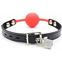 IINIIM Verrouillage GAG Noir Rouge Avec Silicone Ball Gag Pour Adult Rouge 1 Taille Unique