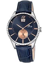 Lotus hommes de montre à quartz avec cadran bleu affichage analogique et bracelet en cuir bleu 18322/4