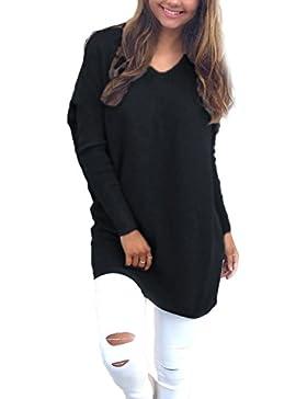 La Mujer Casual Cuello V Manga Larga Tunica Blusa Otoño - Invierno Loose Sweater