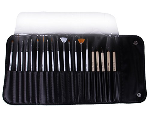 Looks United 15 Nail Art Brush, 5 Two Way Dotting Tool With Carry Case