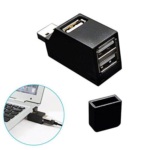 HKFV 3 Port USB Hub Mini USB 2.0 High Speed Hub Splitter Für PC Notebook Laptop Gerader Durchgang mit 3 Anschlüssen (Schwarz)
