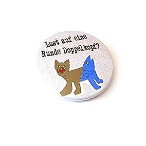 Doppelkopf, Button, Magnet Flaschenöffner Spiegel