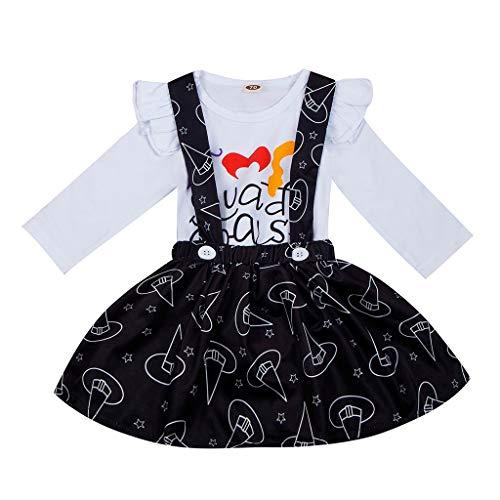 Dasongff Kleinkind Säuglingsbabykleidung Set Langarm Strampler+ Strap Rock Set 2 Stück Halloween Kostüme (Für Mama Und Mich Kostüm)