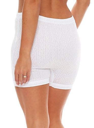 3er Pack Damen Slip mit Bein, weiß Muster (Schlüpfer, Unterhose) (4209 HOA) ( Weiß / 56/58 ) - 3