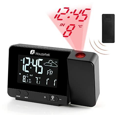 RELOJ PROYECTOR, Houzetek Reloj y Despertador Proyección con Estación Meteorológica, 2 despertadores con Snooze Ajustable, Temperatura Exterior y Interior, Barómetro de Predicción