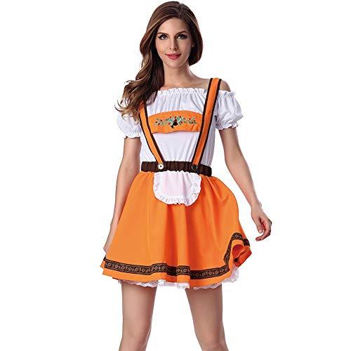 yerisches Deutsches Bierfest Kostüm Mädchen Taverne Bar Maid Dress süße Freizeit bar Traditionelles karnevalskostüme Cosplay Weihnachtsfeier Kleid ZHANSANFM (M, Orange) ()