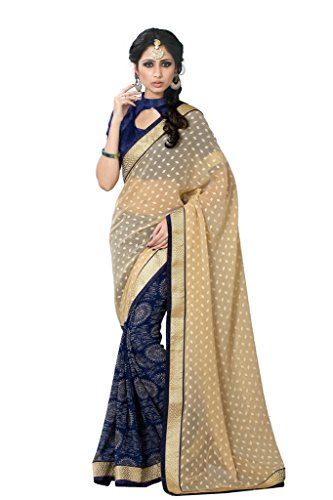 SOURBH Women's Jacquard,Faux Georgette Half Half Saree (363A_Beige,Navy Blue)  available at amazon for Rs.895