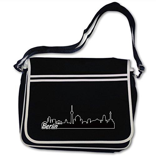 Berlin Druck Skyline Tasche mit Schultergurt Bag Base® BagBase Retro Messenger 40x30x10cm schwarz/farbiger Aufdruck -