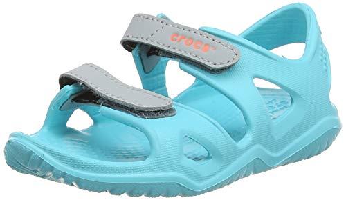 Crocs swiftwater river sandal k, punta aperta unisex-bambini, blu (pool 40m), 25/26 eu