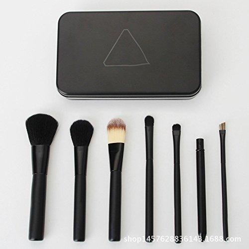 SHUAZI 7 schwarz errötenpinsels Fundament Pinsel-Set Beauty Tools tragbaren Lippenpinsel-Sets Zinn