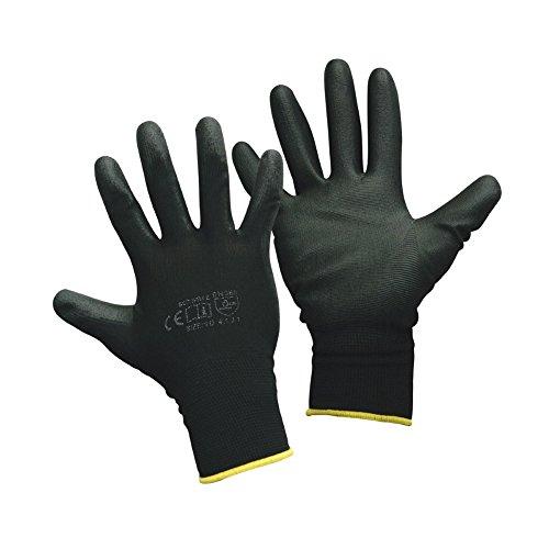 Montagehandschuhe - 12 Paar - Arbeitshandschuhe - Farbe: schwarz - 9 (L)