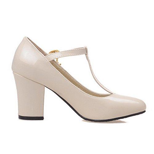 Sapatos Redondo Salto Alto Voguezone009 Puramente Mulheres Bombas Bico Fivela Creme H76Tqx