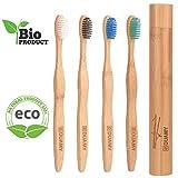 Brosses à dents en bambou et biodégradable et support/étui de voyage de Bamboo. Poils doux sans BPA pour les gencives sensibles. 1 Brosse à dents à charbon de bois + 3 Naturel sans BPA +/support