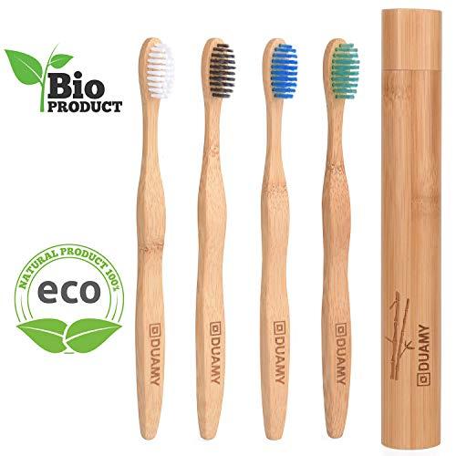Cepillos de dientes de Bambú, Ecológicos, 100% Orgánicos, Biodegradables, Naturales y Veganos. 4 Unidades con cerdas de carbón naturales, vegetales y suaves + 1 x Estuche/Funda