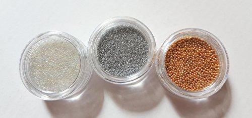 NEW Lot de 3 petites boîtes Nail Art Caviar Micro Perles Transparent/Argent/Or boules Micro Perles Nail Nail Art Manucure Pédicure einleger Accessoires Glitter Peinture à paillettes