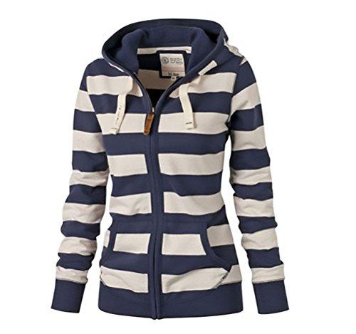 Cardigan donna invernale giacca felpe manica lunga elegante giubbino con cappuccio ispessito allentato trench coat a righe giubbotto con zip slim stampato cappotto sweatshirt hoody