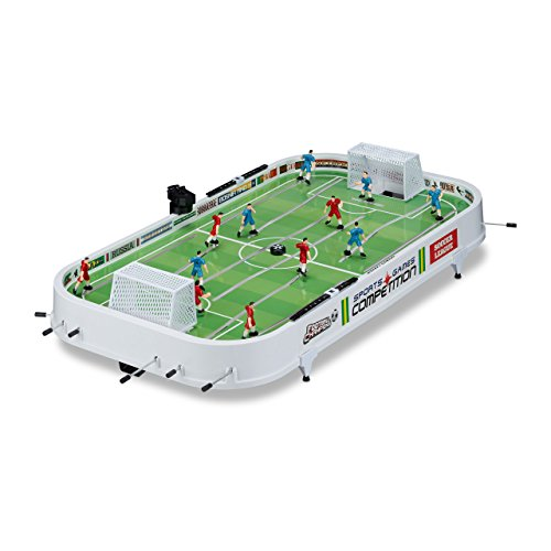 Relaxdays Foosball Tabletop Game, Soccer Set for Adults and Kids, XL Football Table, W x D: 96 x 51 cm, White-Green