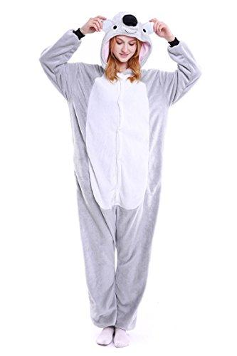Koala Kostüm (Tuopuda Tier Pyjamas Erwachsene Unisex Onesie Jumpsuits Cosplay Kostüme Tieroutfit Tierkostüme Halloween Schlafanzug (M ( 158-167 cm height ), Grauer)